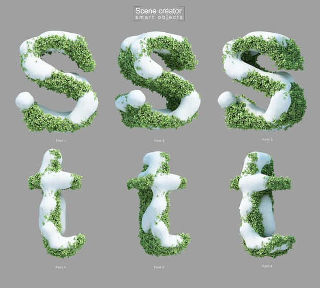 3d rendering of snow on bushes in shape of letter s and letter t