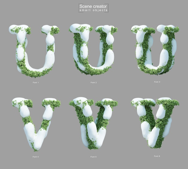 3d rendering of snow on bushes in shape of letter u and letter v scene creator