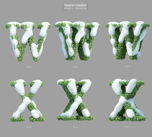 3d rendering of snow on bushes in shape of letter w and letter x scene creator