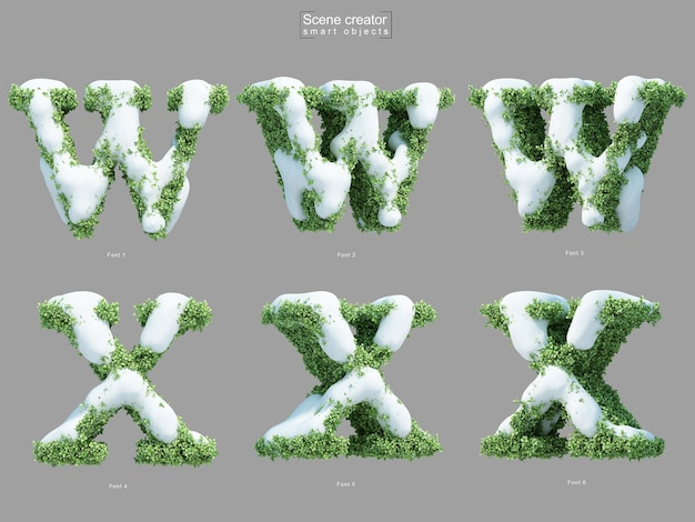 3d rendering of snow on bushes in shape of letter w and letter x