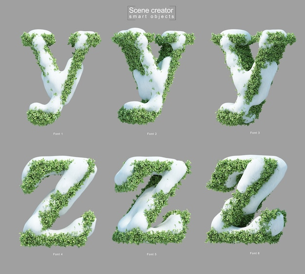 3d rendering of snow on bushes in shape of letter y and letter z
