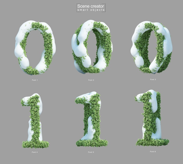 3d rendering of snow on bushes in shape of number 0 and number 1