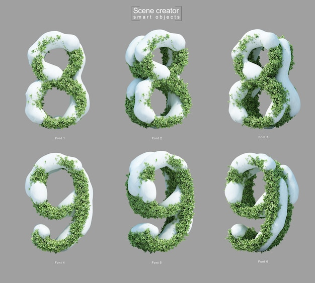3d rendering of snow on bushes in shape of number 8 and number 9