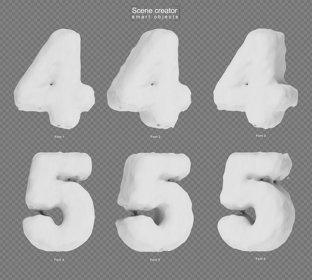 3d rendering of snow number 4 and number 5