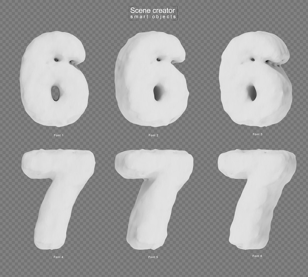 3d rendering of snow number 6 and number 7