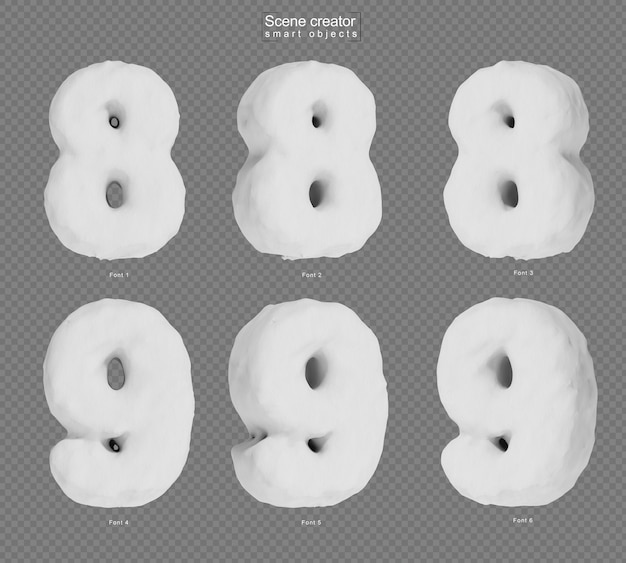 3d rendering of snow number 8 and number 9