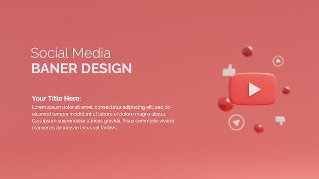 Youtube 로고가 있는 3d 렌더링 소셜 미디어 게시물 템플릿