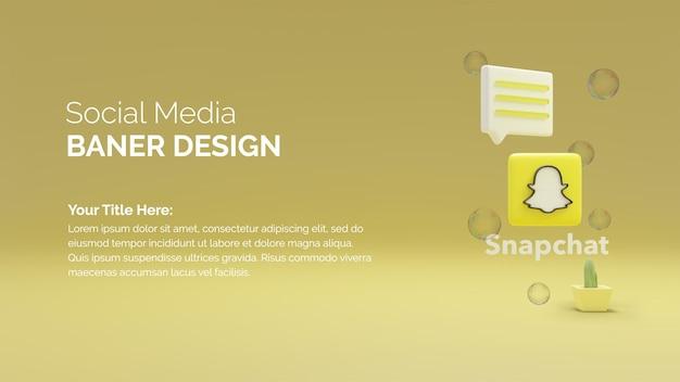 Snapchat 로고가 있는 3d 렌더링 소셜 미디어 게시물
