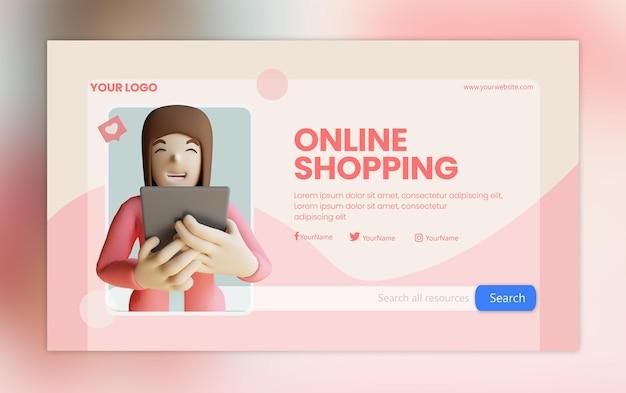 3d rendering social media template website female character carrying tablet