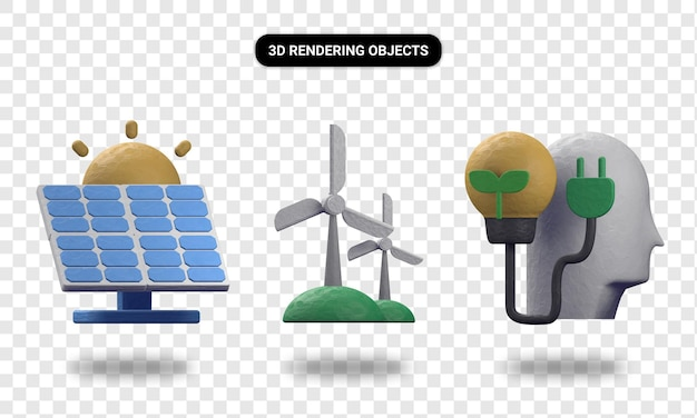 3d rendering solar energy windmill and think green