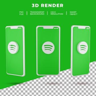 고립 된 스마트 폰의 3d 렌더링 spotify 로고
