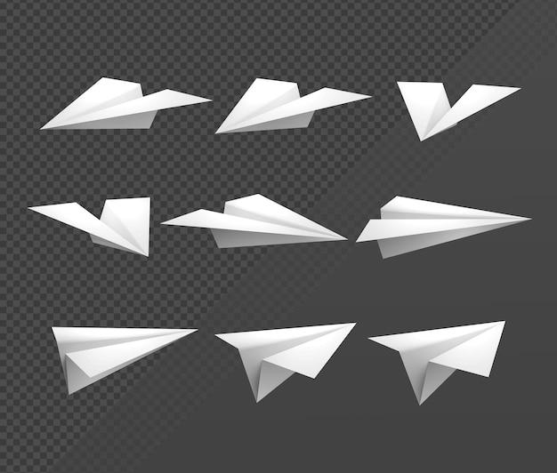 3d рендеринг последовательность спрайтов оригами бумажный самолет вид в перспективе