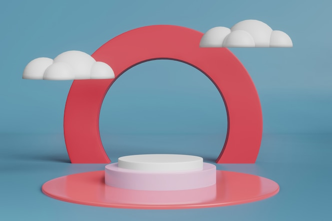 3d rendering stage display mockup with clouds