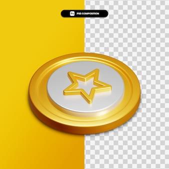 고립 된 황금 동그라미에 3d 렌더링 스타 아이콘