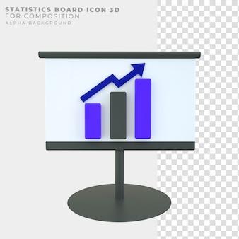 3d rendering statistics board icon