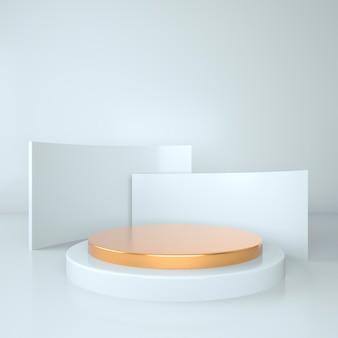 기하학적 모양이 있는 3d 렌더링 스튜디오, 바닥에 연단. 제품 프레젠테이션을 위한 플랫폼, 배경을 조롱합니다.