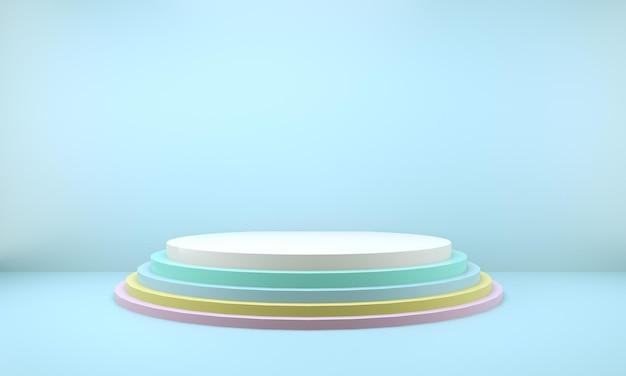 Студия 3d-рендеринга с геометрическими фигурами, подиум на полу. платформы для презентации продуктов,