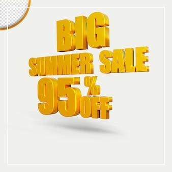 3d 렌더링 여름 판매 할인 제공 텍스트