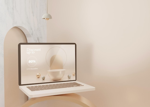3d 렌더링 초현실적 인 플랫폼 노트북 모형 디스플레이 파스텔