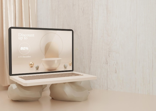 3d rendering surreal platform laptop mockup display pastel