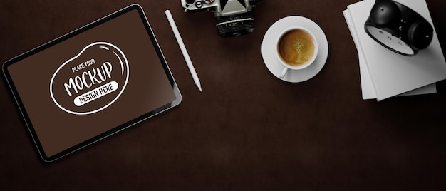 3d rendering of tablet mockup with camera and coffee cup