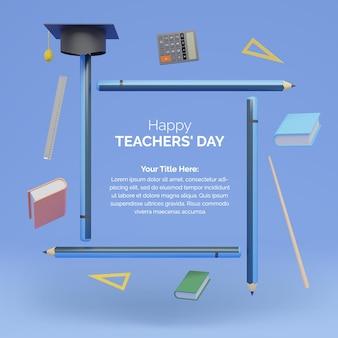 Шаблон дня учителя 3d-рендеринга с карандашом и книгами