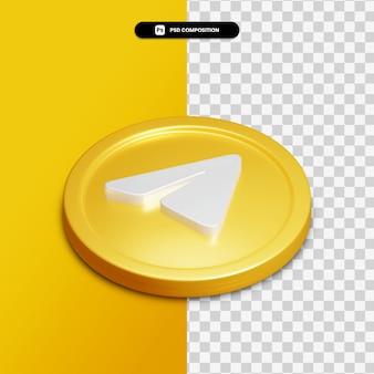 Значок телеграммы 3d рендеринга на золотом круге изолированы