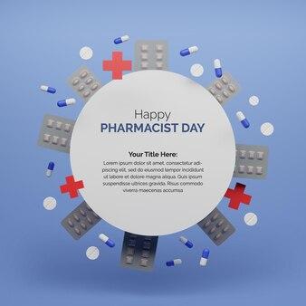 Шаблон 3d-рендеринга счастливый день фармацевта с круглым значком медицины