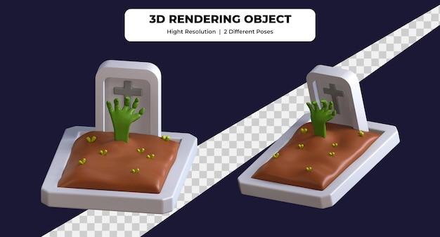 3d-рендеринг надгробной плиты с использованием двух разных поз значка иллюстрации