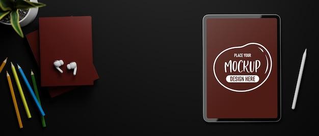 3d rendering of top view of workspace with mockup digital tablet