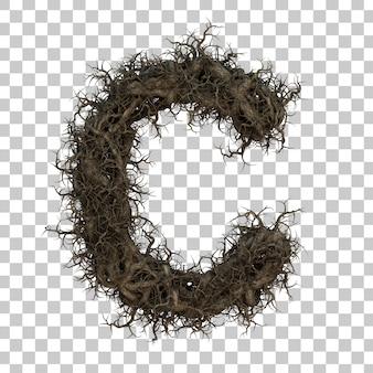 3d rendering tree branch alphabet c