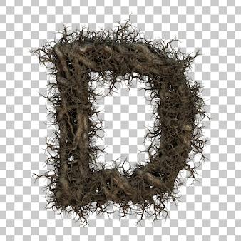 3d rendering tree branch alphabet d