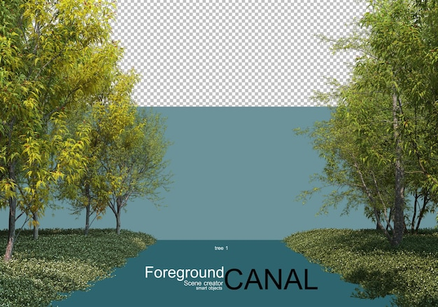 3d rendering of trees along the canal