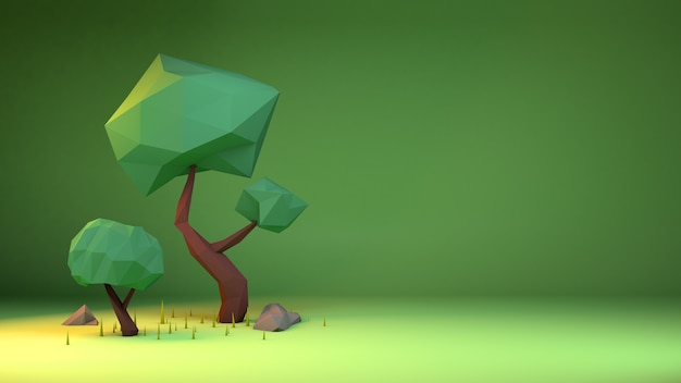 3d rendering of trees in low poly style