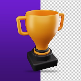 3d rendering of trophy icon winner and rewards concept