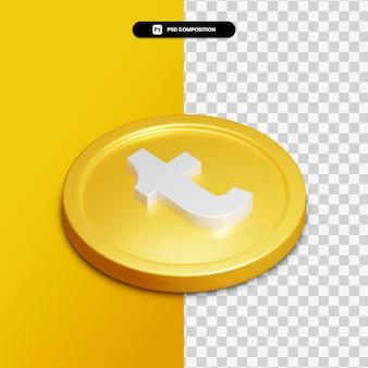 고립 된 황금 동그라미에 3d 렌더링 tumblr 아이콘