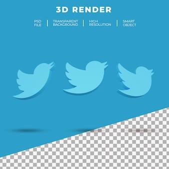고립 된 스마트 폰의 3d 렌더링 트위터 로고