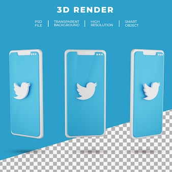 3d rendering twitter logo of smartphone isolated