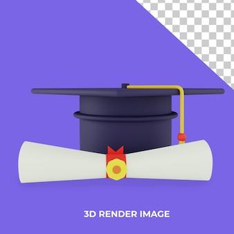 3d 렌더링 대학 학생 모자 각모 및 졸업장 졸업 개념