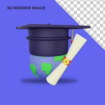 3d 렌더링 대학생 모자 각모 및 졸업장 졸업 개념