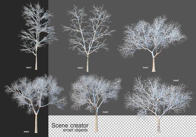3d 렌더링 다양한 종류의 겨울 나무