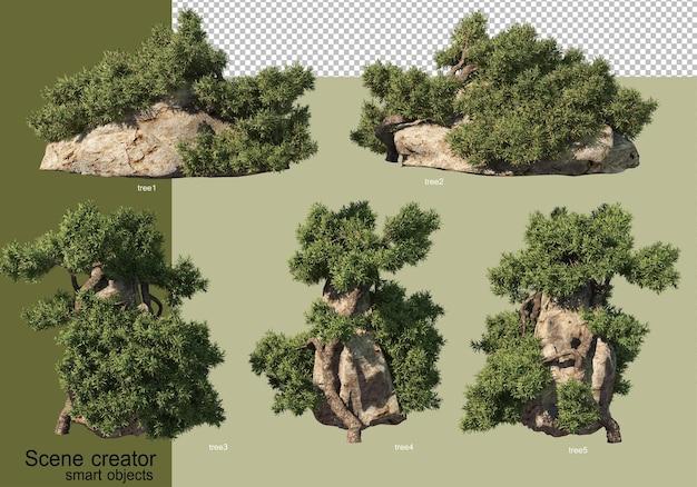 3d rendering of various tree designs