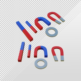 3d rendering various types of magnets u horseshoe tube bar ring red and blue north and south pole