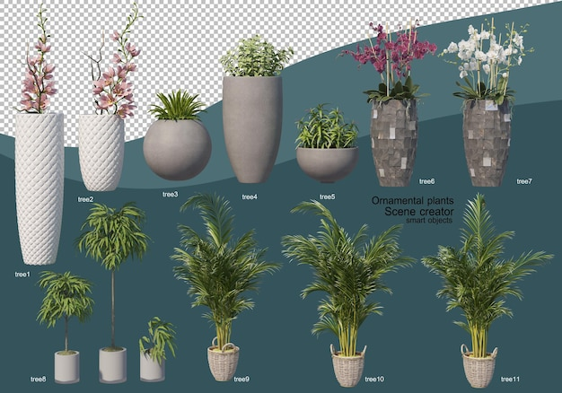 3d rendering of various types of ornamental arrangement