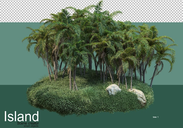 3d rendering of various types of trees on the island