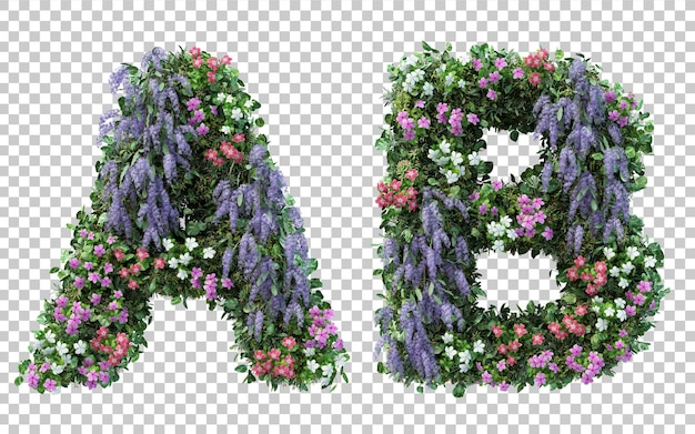 3d rendering of vertical flower garden alphabet a and alphabet b isolated