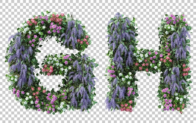 3d rendering of vertical flower garden alphabet g and alphabet h isolated