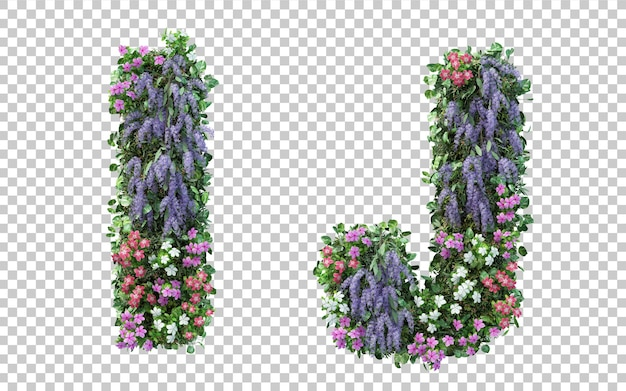 3d rendering of vertical flower garden alphabet i and alphabet j isolated