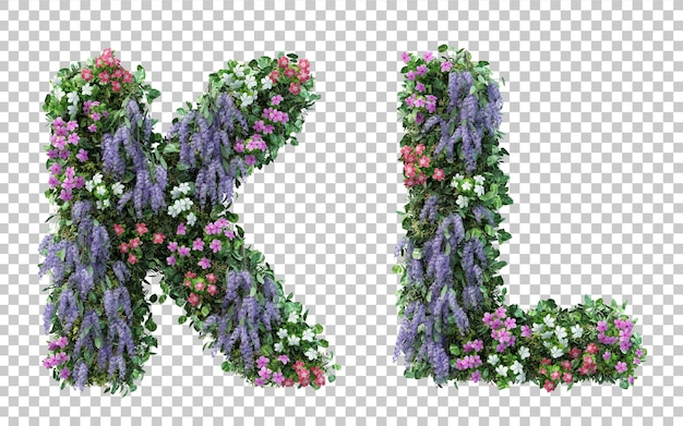 3d rendering of vertical flower garden alphabet k and alphabet l isolated