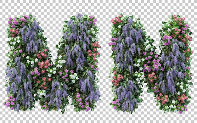 3d rendering of vertical flower garden alphabet m and alphabet n isolated